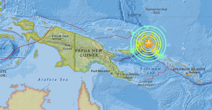 Magnitude 7.9 Earthquake off Papua New Guinea.