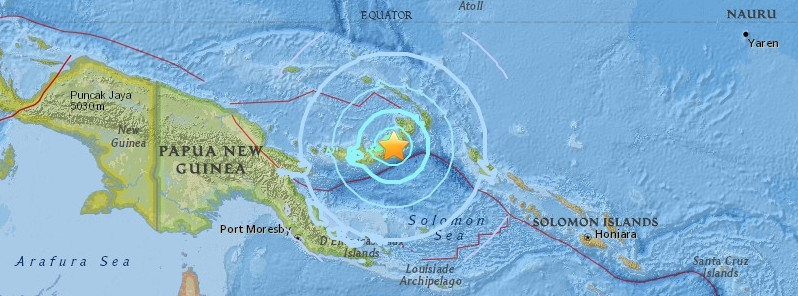 Strong and shallow M6.6 earthquake hits New Britain, Papua.