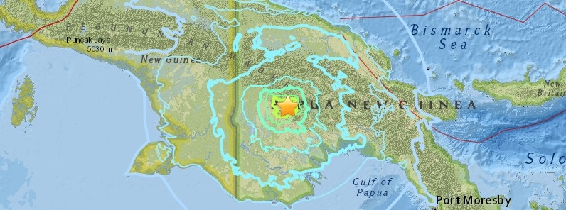 Strong and shallow M6.7 aftershock hits Papua New Guinea.