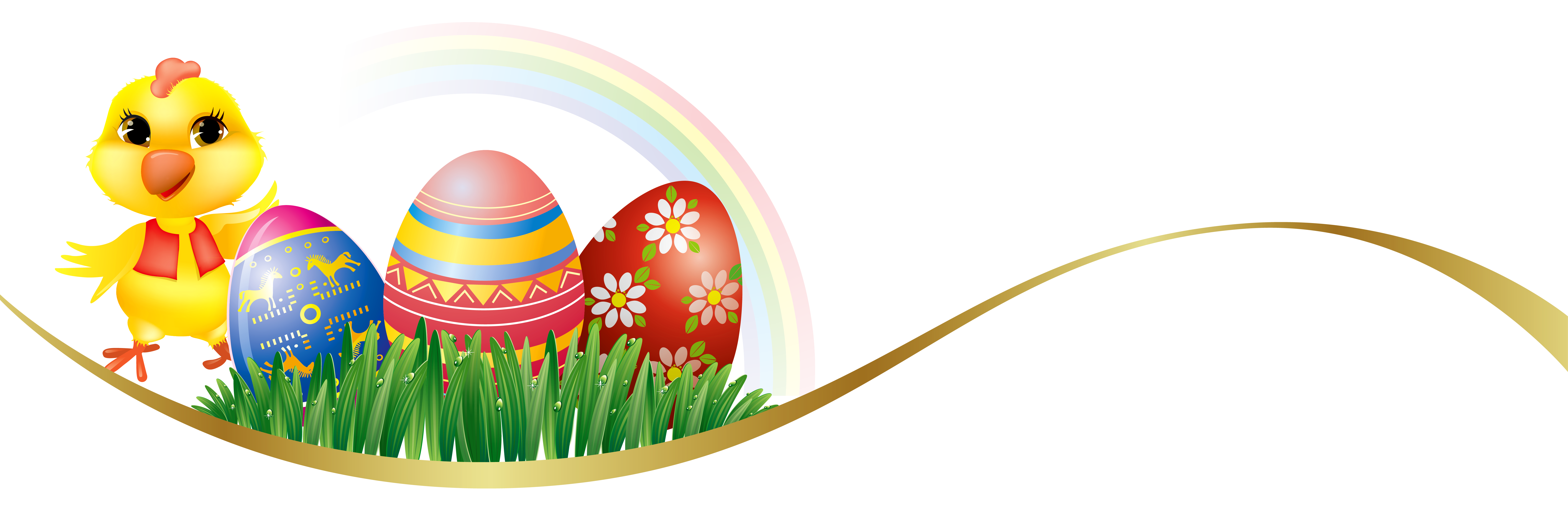 Easter Deco with Eggs and Chicken PNG Clipart Picture.