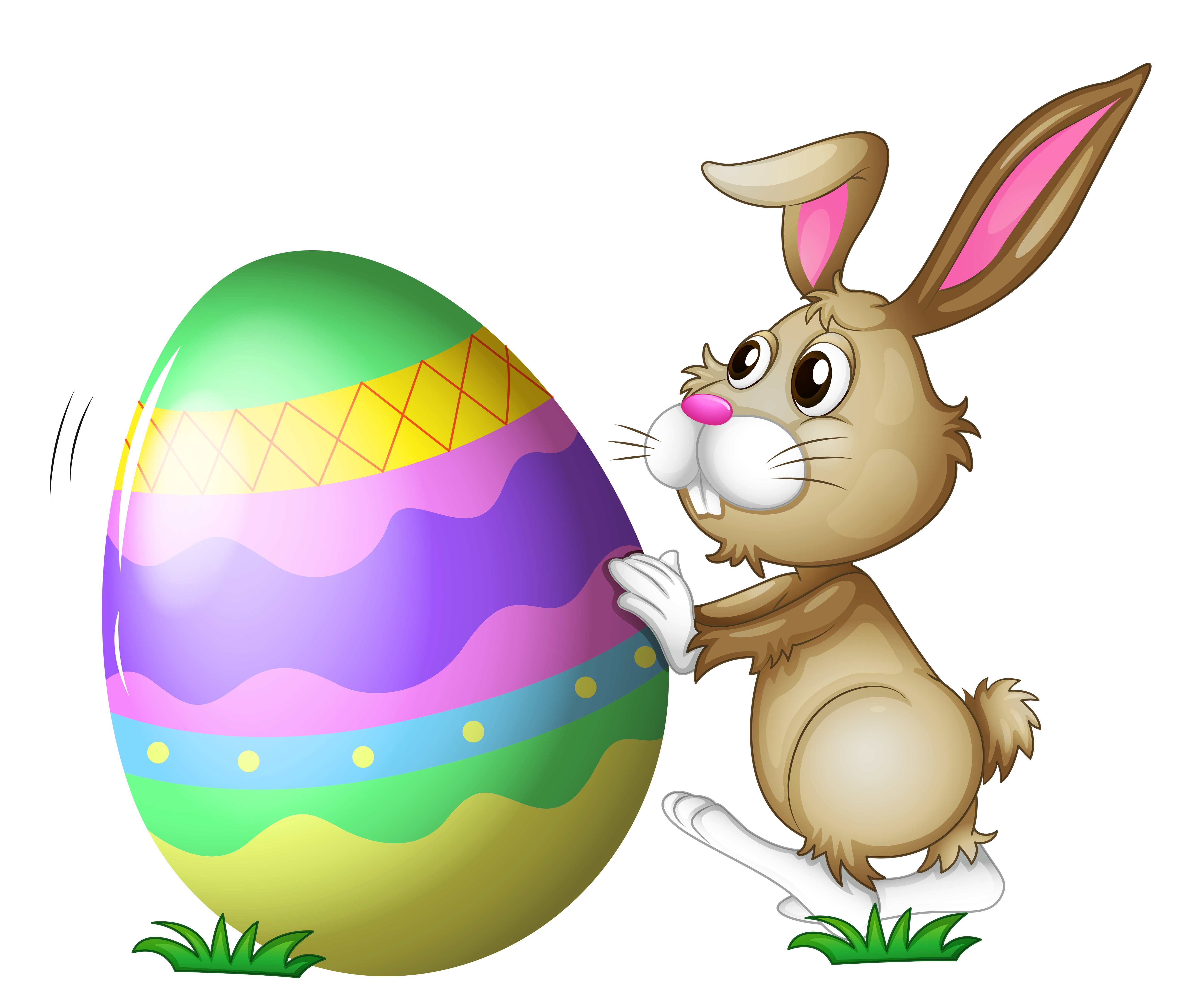 Easter Bunny with Egg Transparent PNG Clipart.