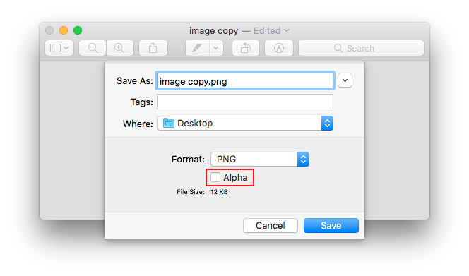 Remove alpha channel in an image.