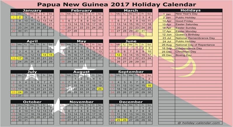 Papua New Guinea Public Holiday Calendar 2017.
