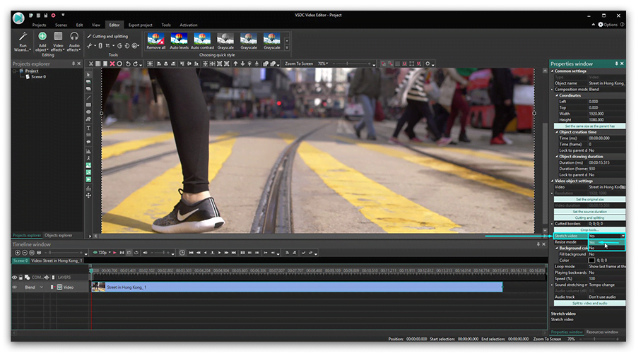 How to overlay videos in VSDC using blending modes.