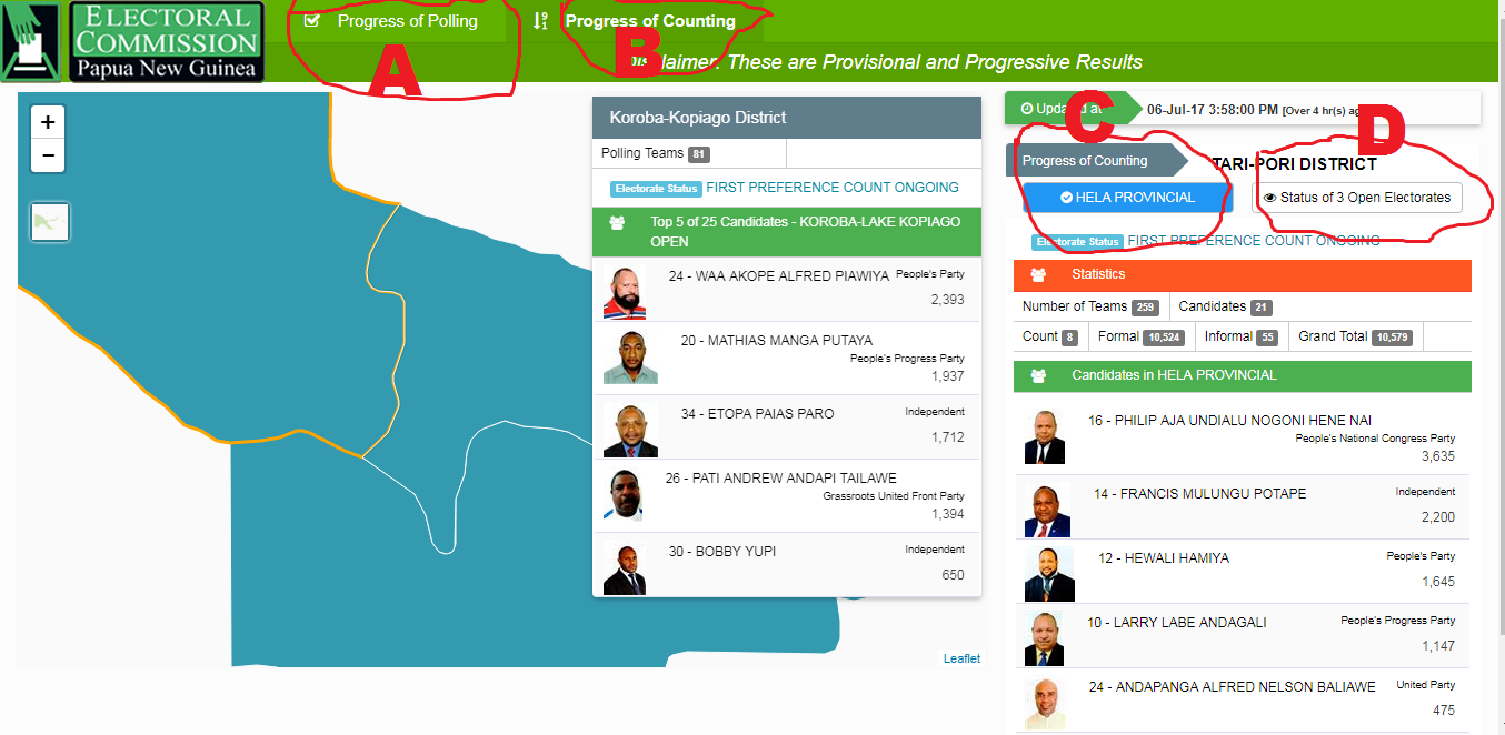 How to access Live 2017 PNG Election Results Online.