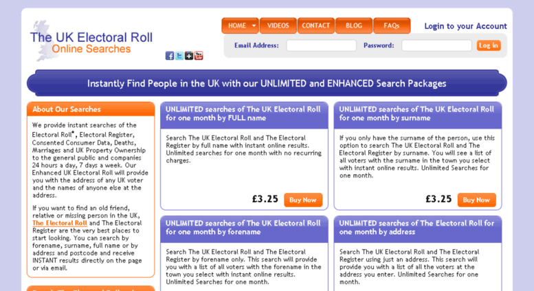 Access theukelectoralroll.co.uk. Electoral Roll Search.