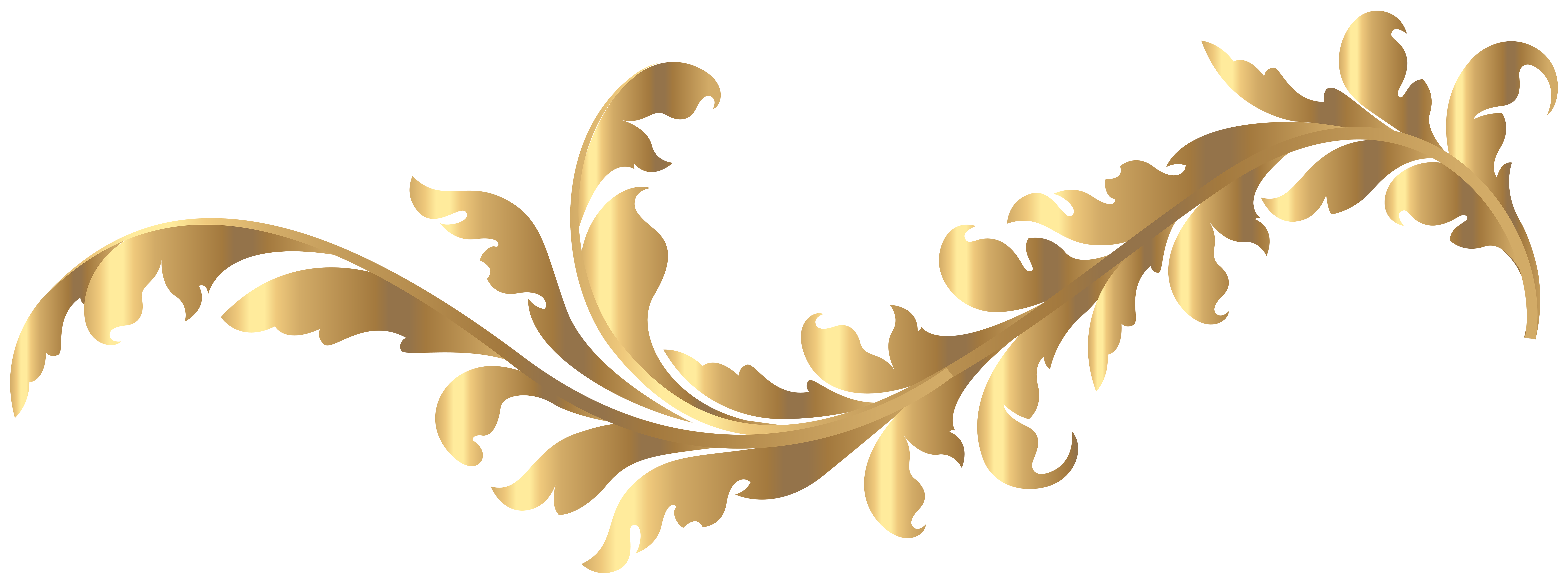 Floral Gold Element PNG Clip Art Image.