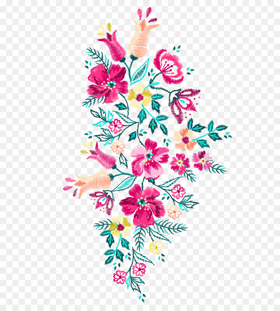 Flower Embroidery PNG Embroidery Floral Design Clipart.