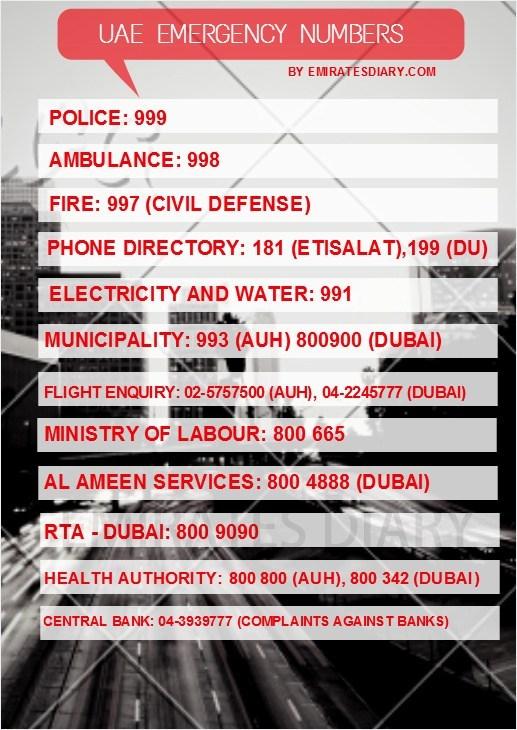 Emergency numbers in Dubai,Emergency numbers Abu Dhabi.