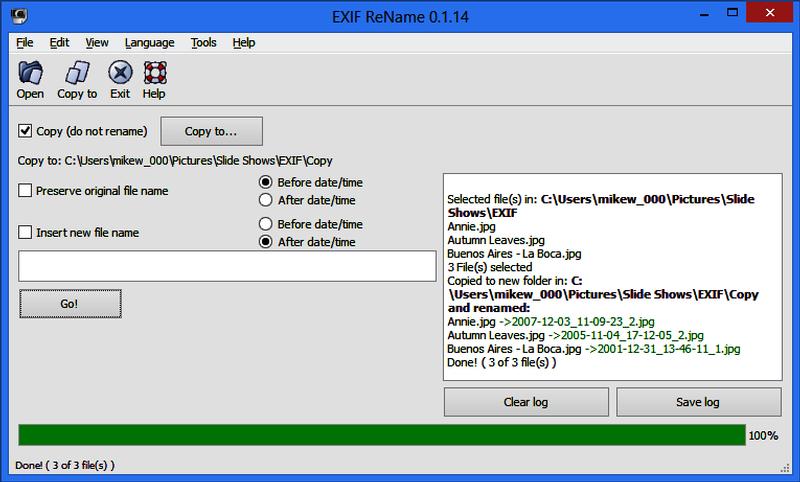 Exif ReName 0.1.14.