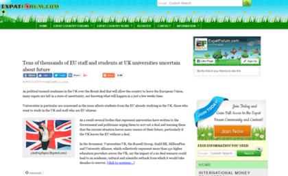 Expatforum.com website. Expat Forum.