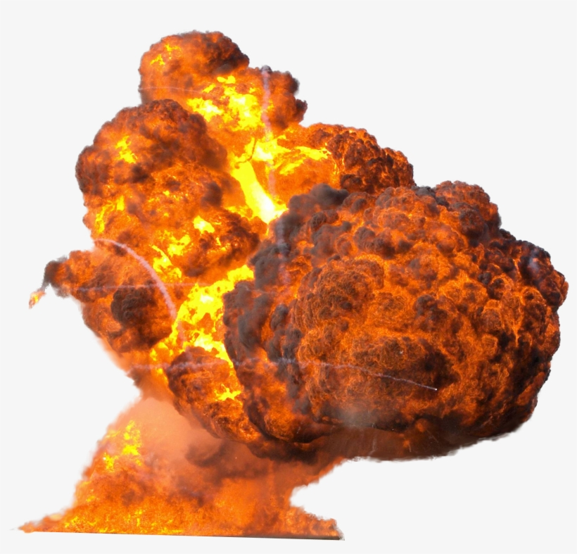 Big Explosion With Fire And Smoke Png Image.