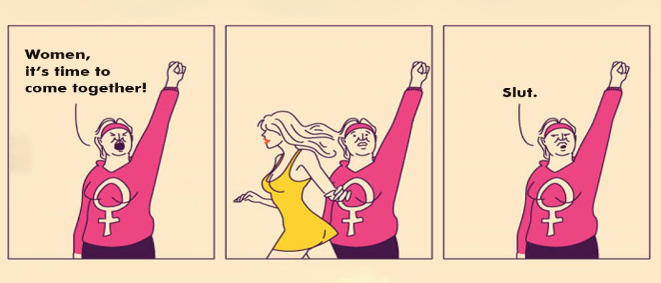 Feminist On Facebook, Gossip Monger On WhatsApp.