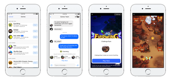Facebook Launches Instant Games on Messenger and News Feed.