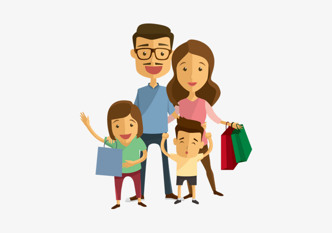 Happy Family Shopping Fig., Vector Famil #22705.