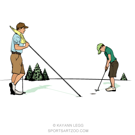 Father & Son On Putting Green.