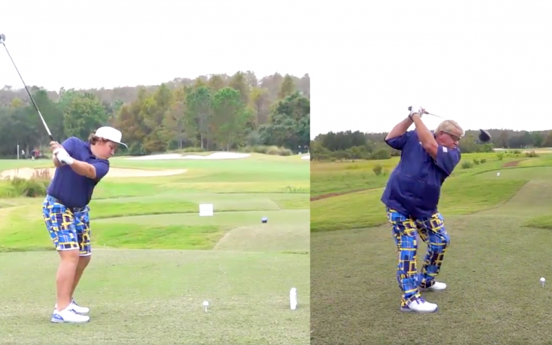 Little John Daly absolutely crushes driver, has tour pros.