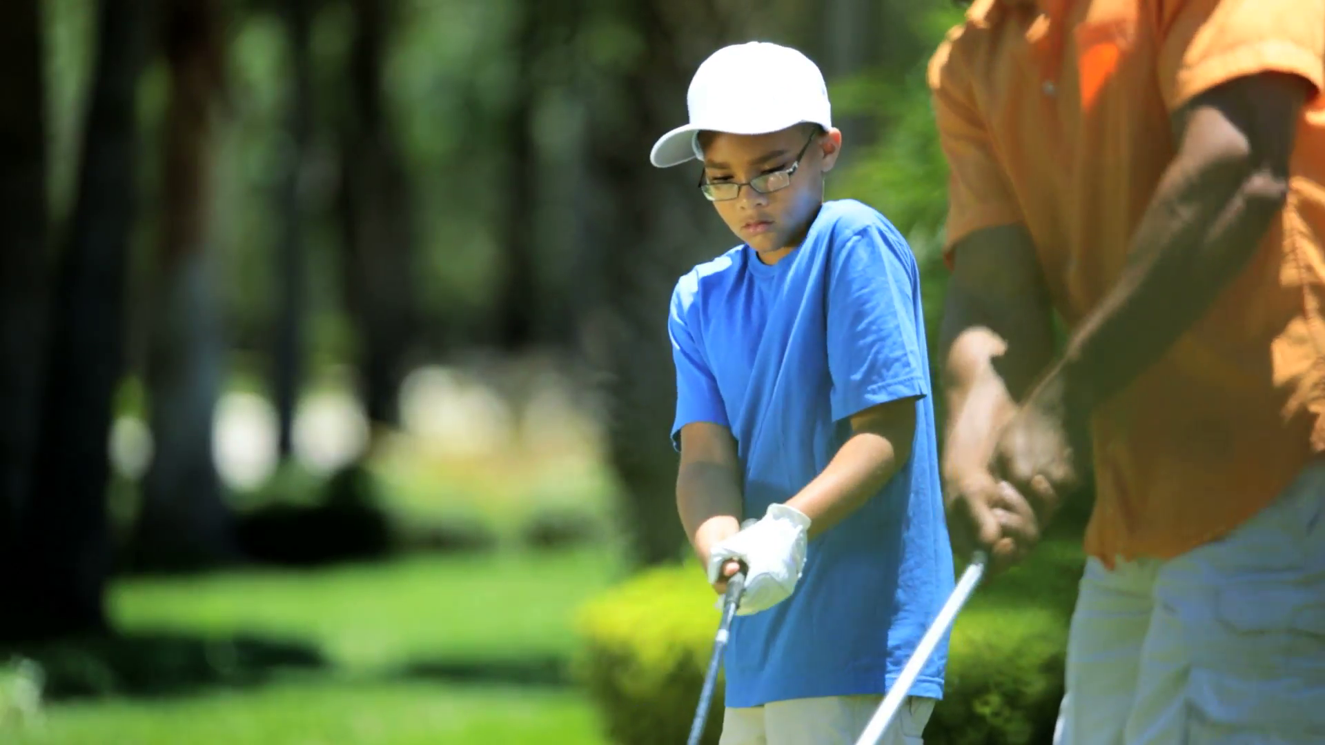 African American Father Son Golf Clubs Stock Video Footage.