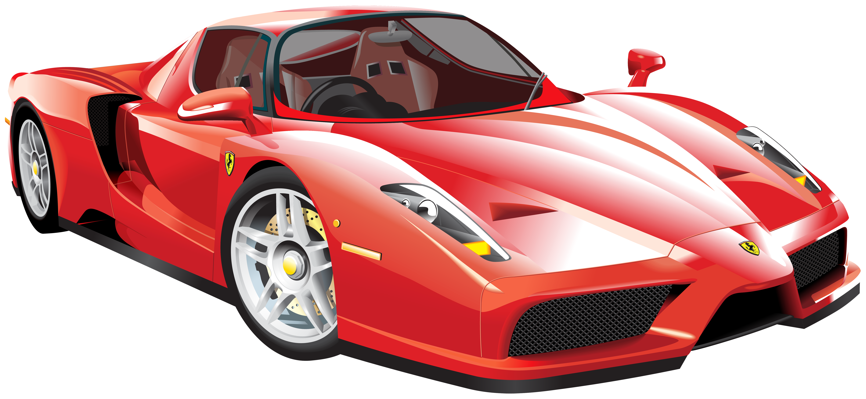 Red Ferrari Car PNG Clip Art.