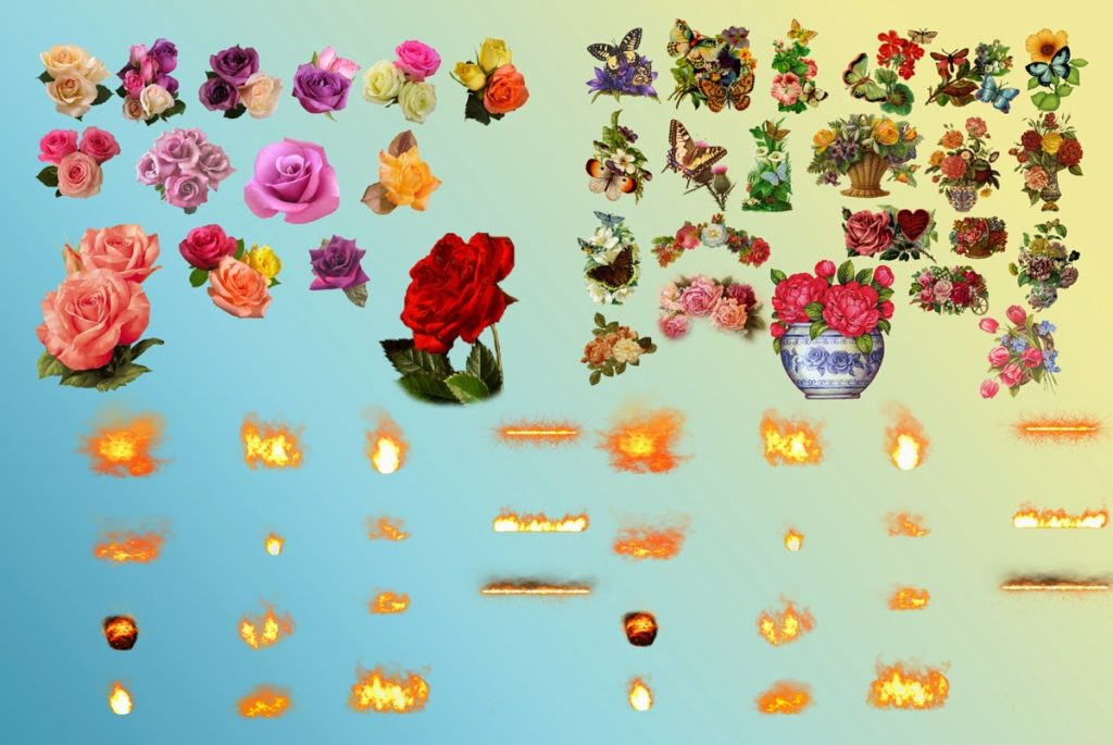 vintage flowers,Rose and misc_fire elements png file for.