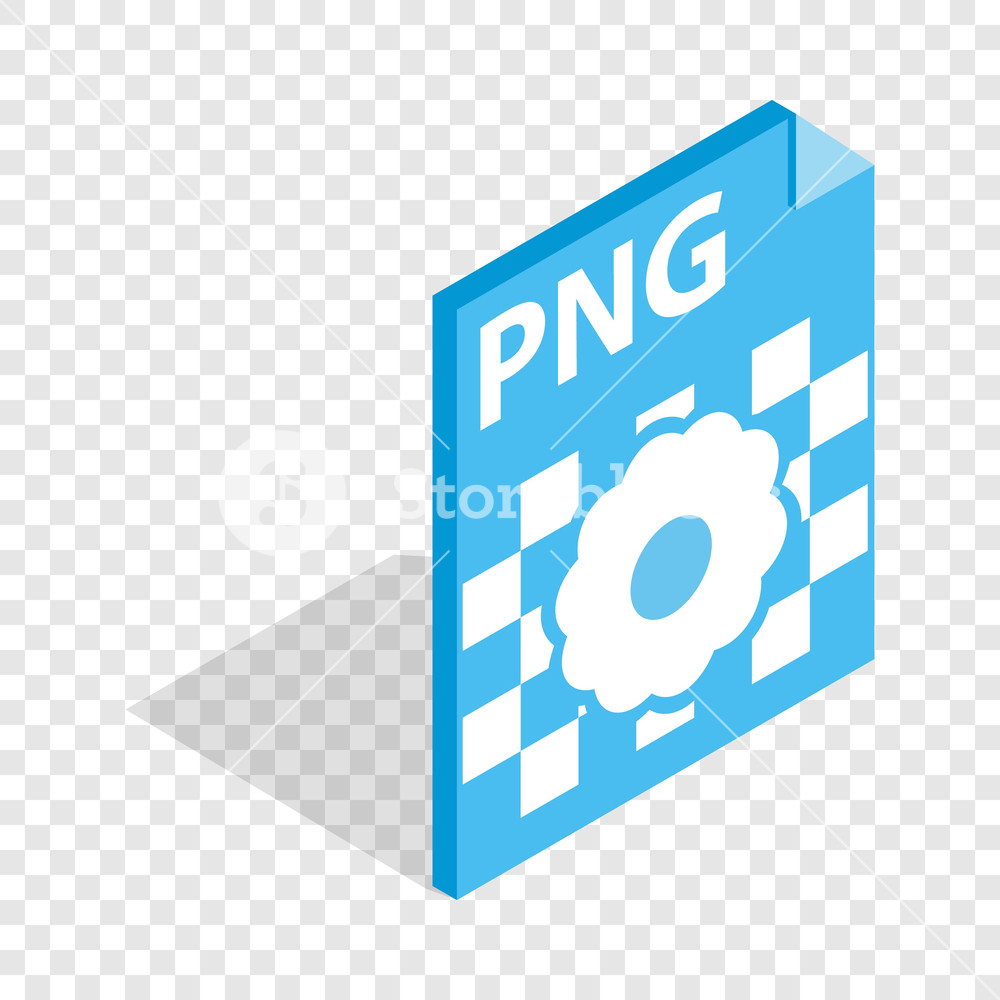 PNG image file extension isometric icon 3d on a transparent.