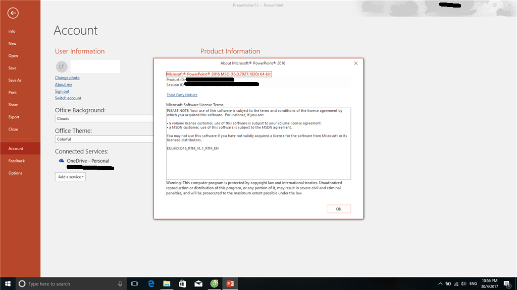Images not displaying Powerpoint 2016.