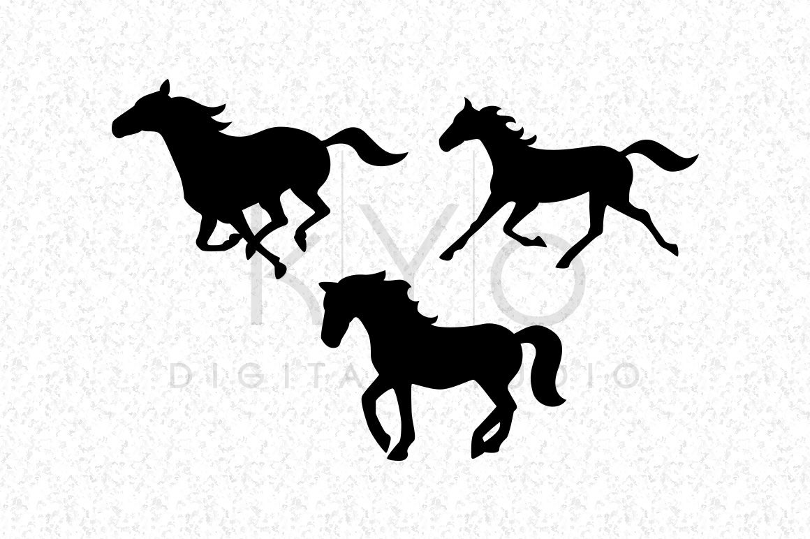 Running Horse Mustang Silhouettes Equestrian SVG DXF PNG EPS.