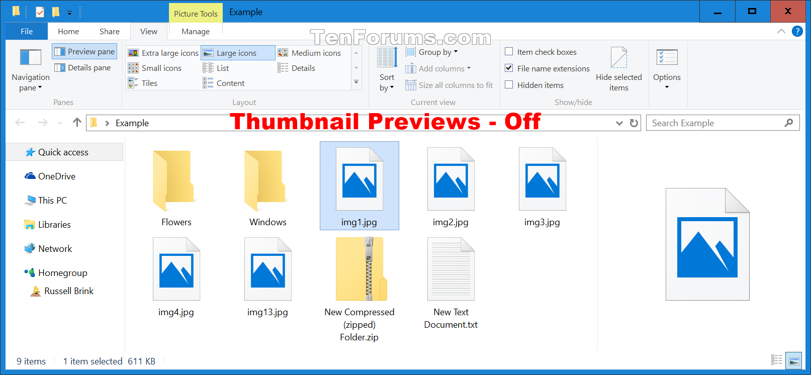 Enable or Disable Thumbnail Previews in File Explorer in.