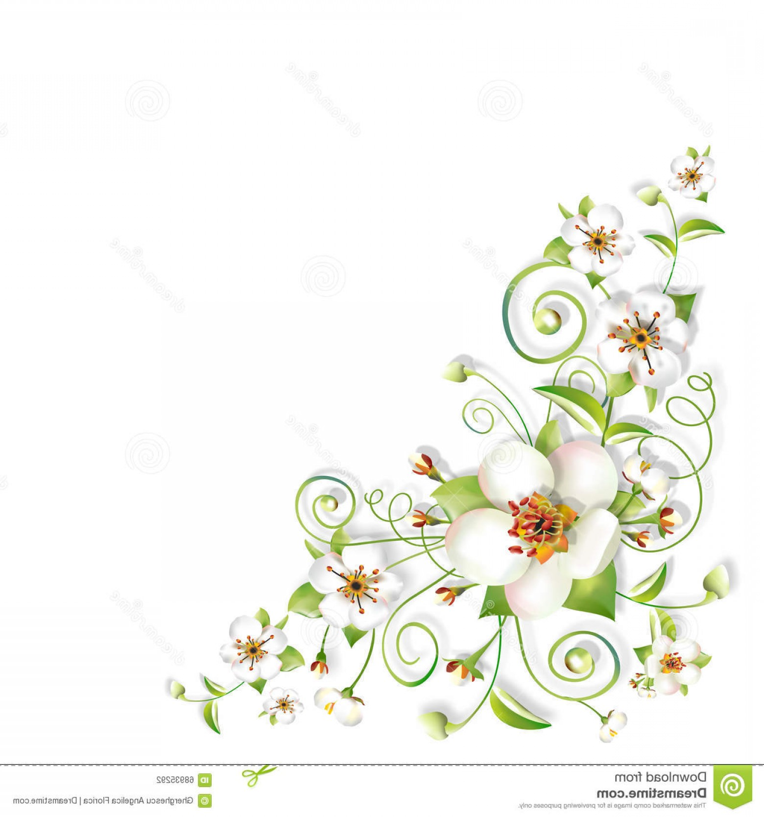 Stock Illustration Sprig Flowers Background Corner Spring.