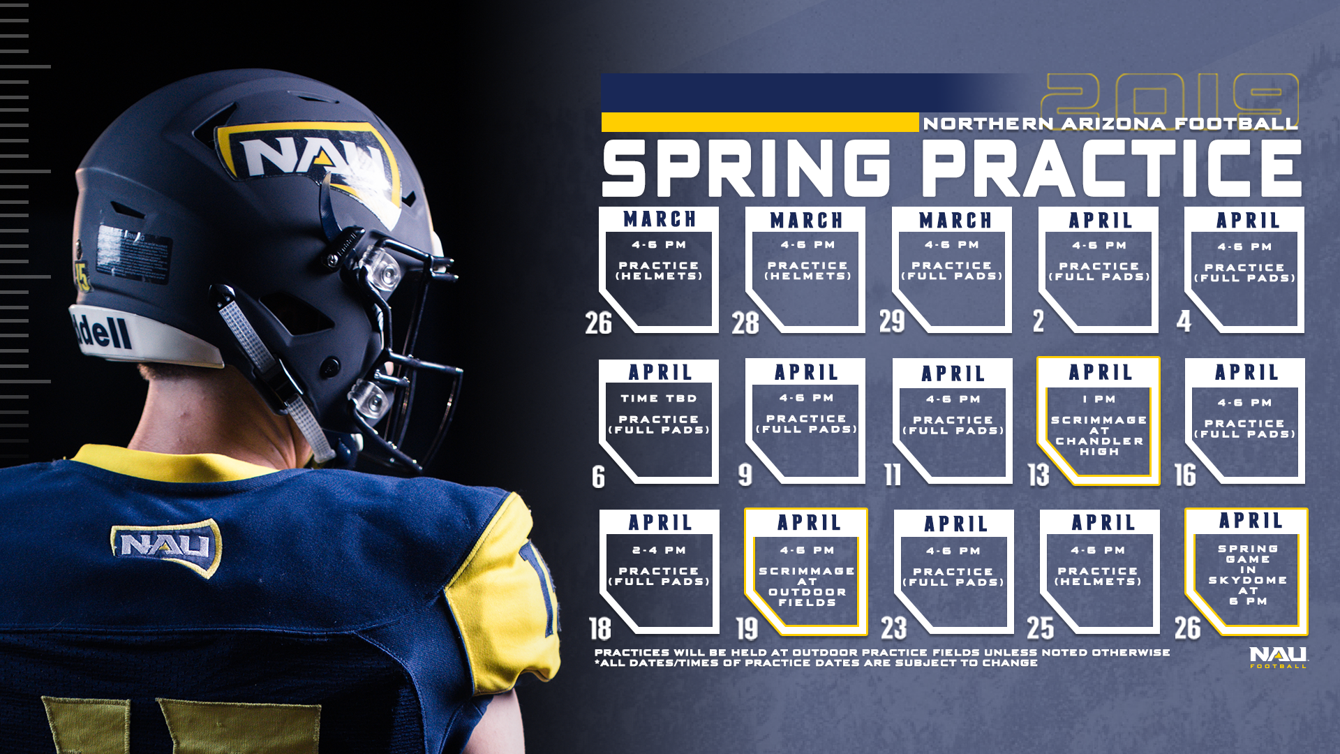 NAU Football to Kickoff Spring Practice on Tuesday, March 26.