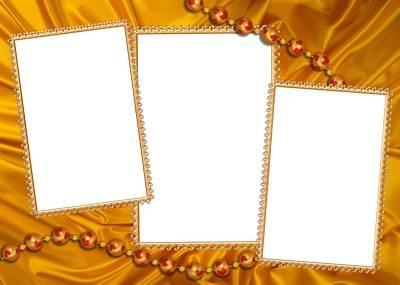 4 gold frames png format for Photoshop. Transparent PNG.