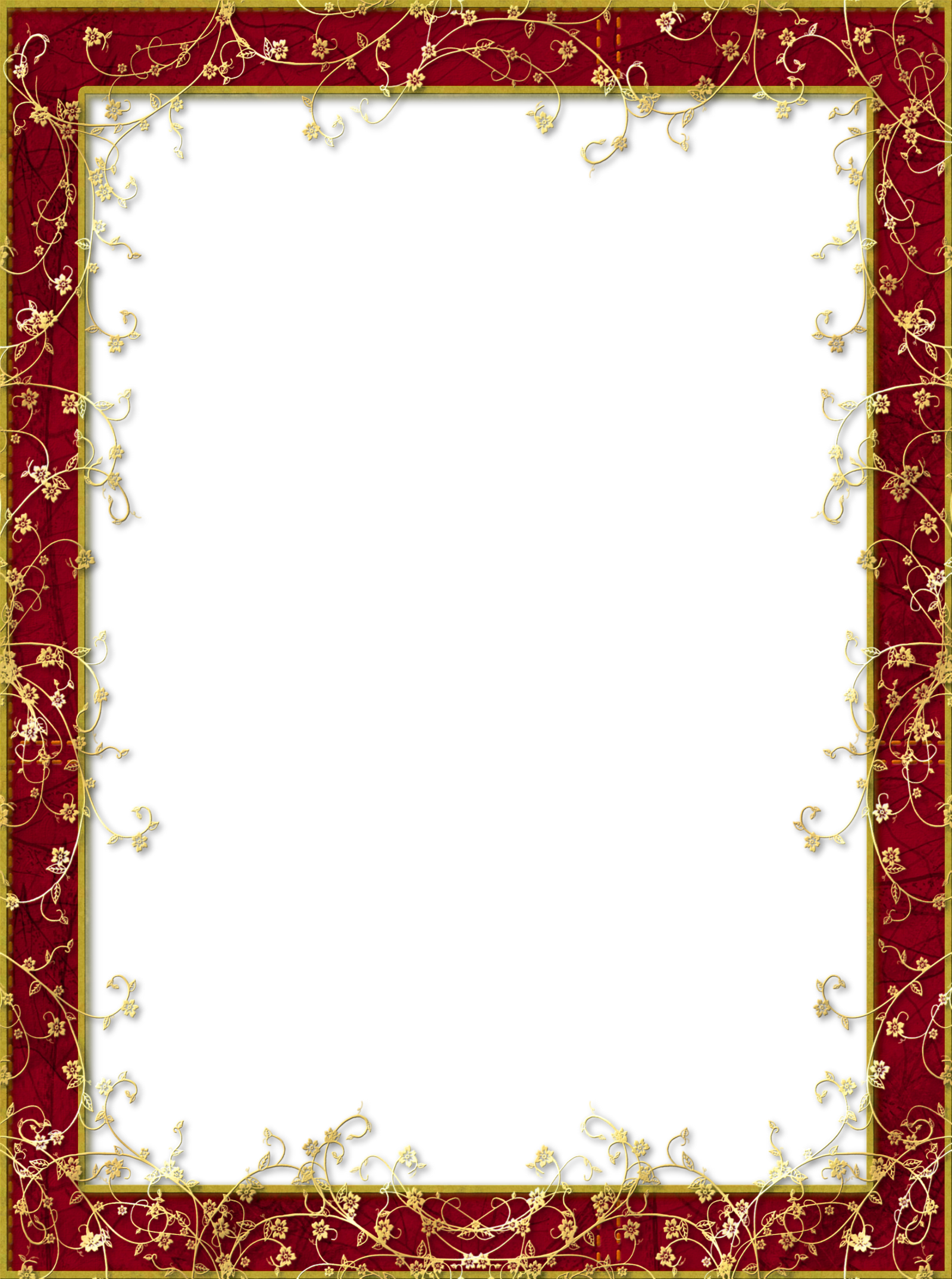 Red Transparent PNG Frame with Gold Flowers.
