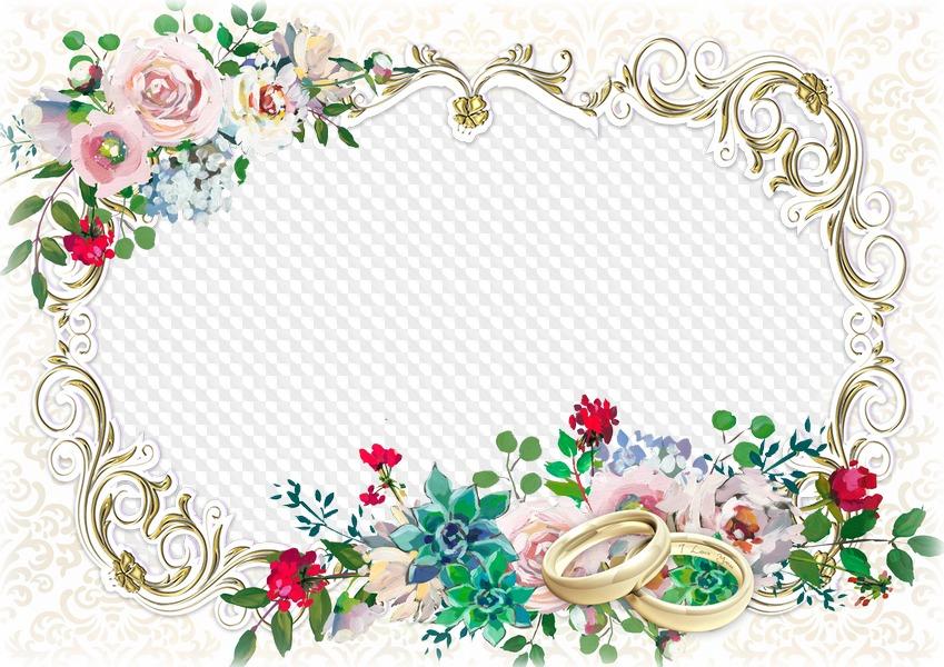 Wedding Photo Frame PSD Template Transparent PNG Image.