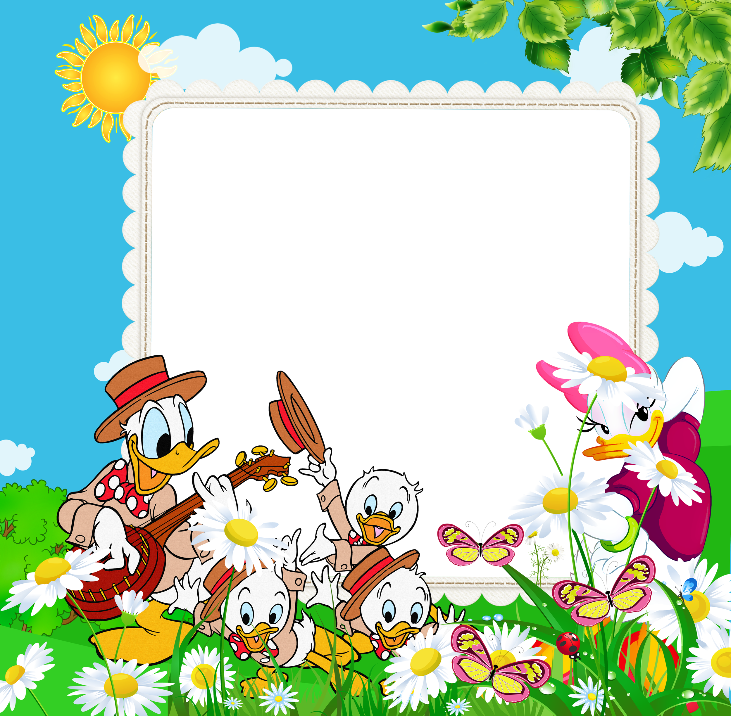 Transparent Kids PNG Frame with Ducks.