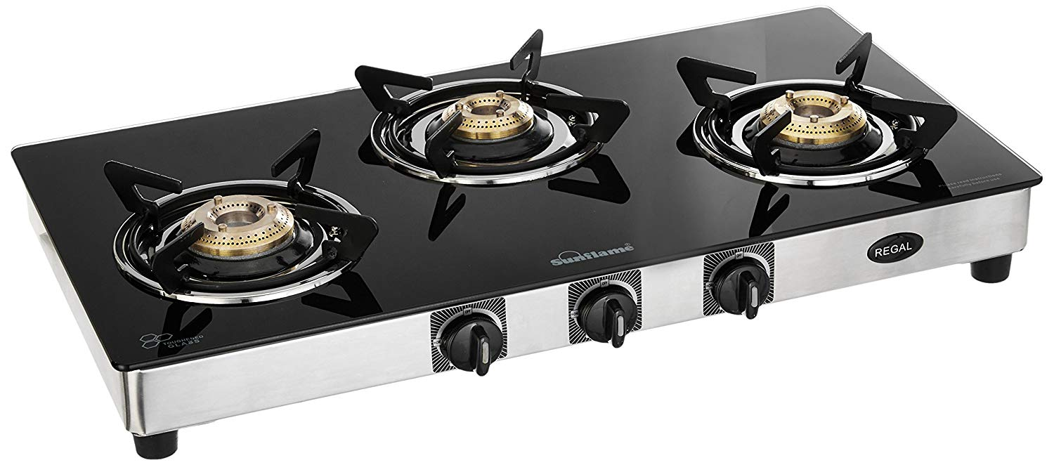 Sunflame GT Regal Stainless Steel 3 Burner Gas Stove, Black.