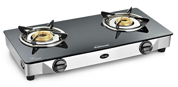Sunflame Pride SS GT 2 Burner Glass Manual Gas Stove.