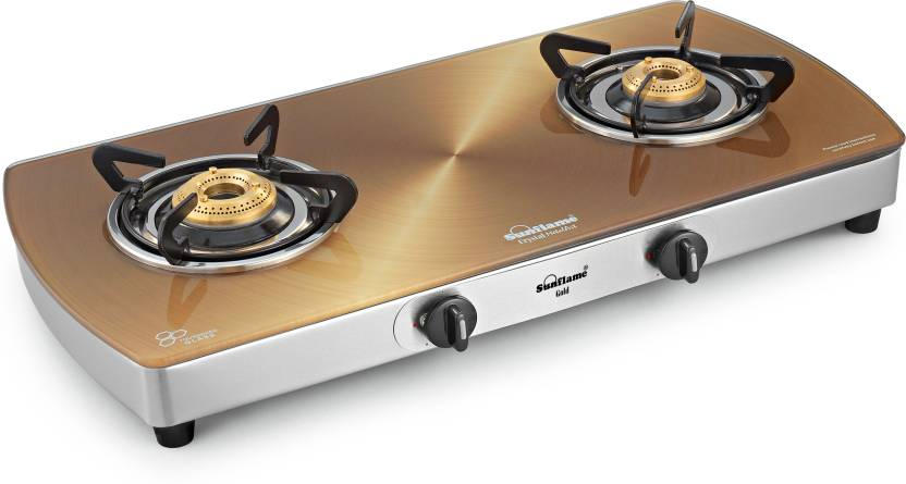 Sunflame Crystal Gold Glass, Stainless Steel Manual Gas Stove.