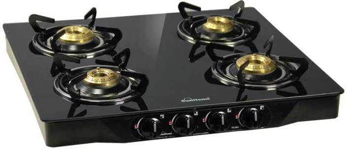 Sunflame Pearl 4 Burner Glass Top Stainless Steel, Glass Manual Gas Stove.