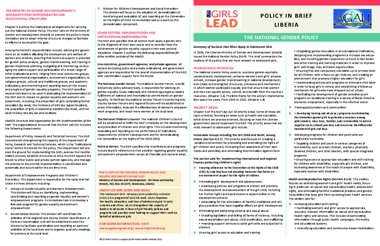 Liberia Gender Policy.