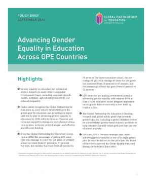 Policy brief. Advancing gender equality in education across.