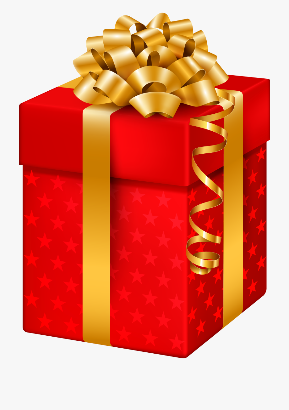 Red Gift Box With Stars Png Clipart.