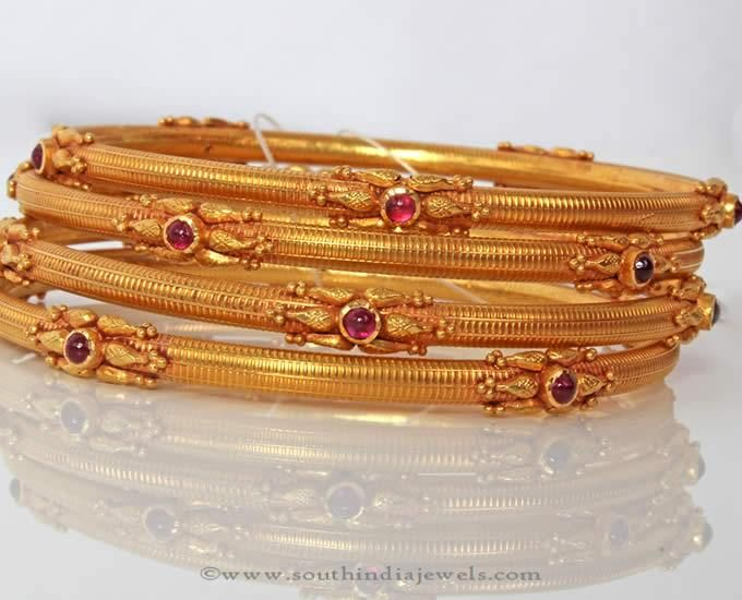 Gold Antique Bangle Sets from PNG Adgil Jewellers.