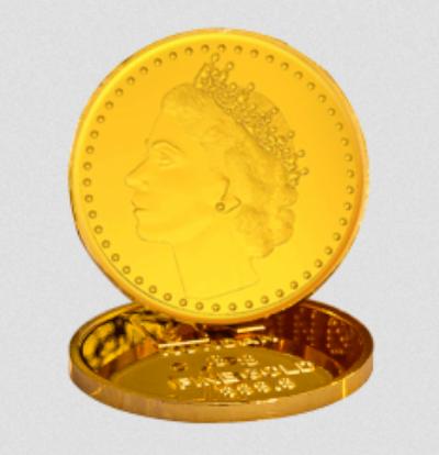 8 Gram Gold Coin 22 Kt 916 Queen.