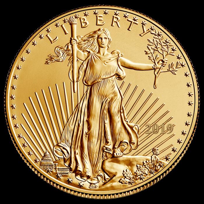 2019 1/2 oz Gold American Eagle Coin BU.