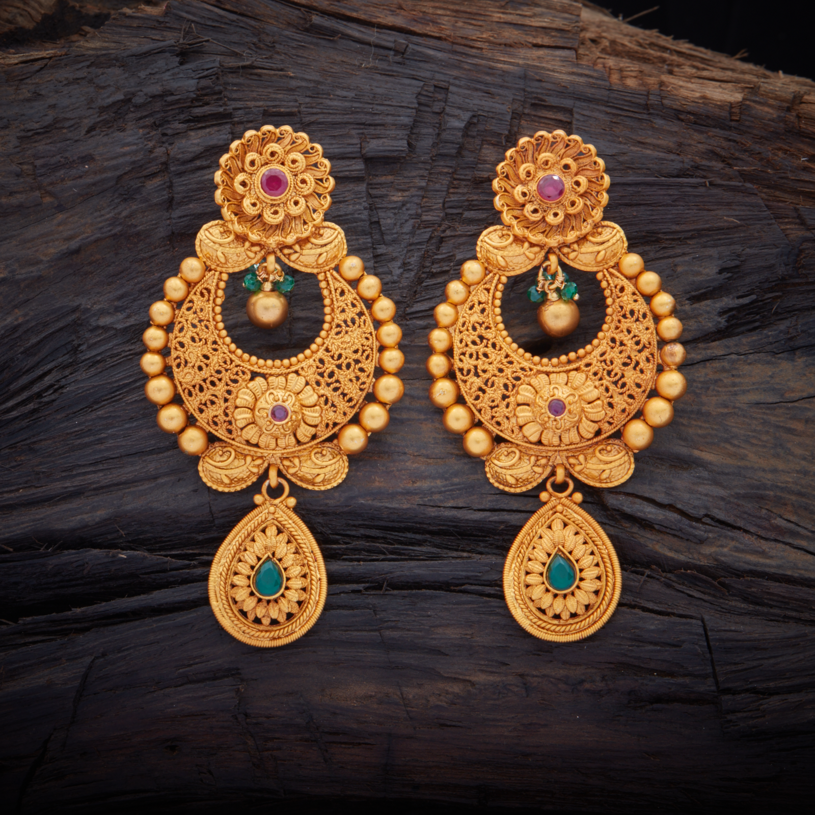 Traditional Designed Antique Hanging earrings studded with.