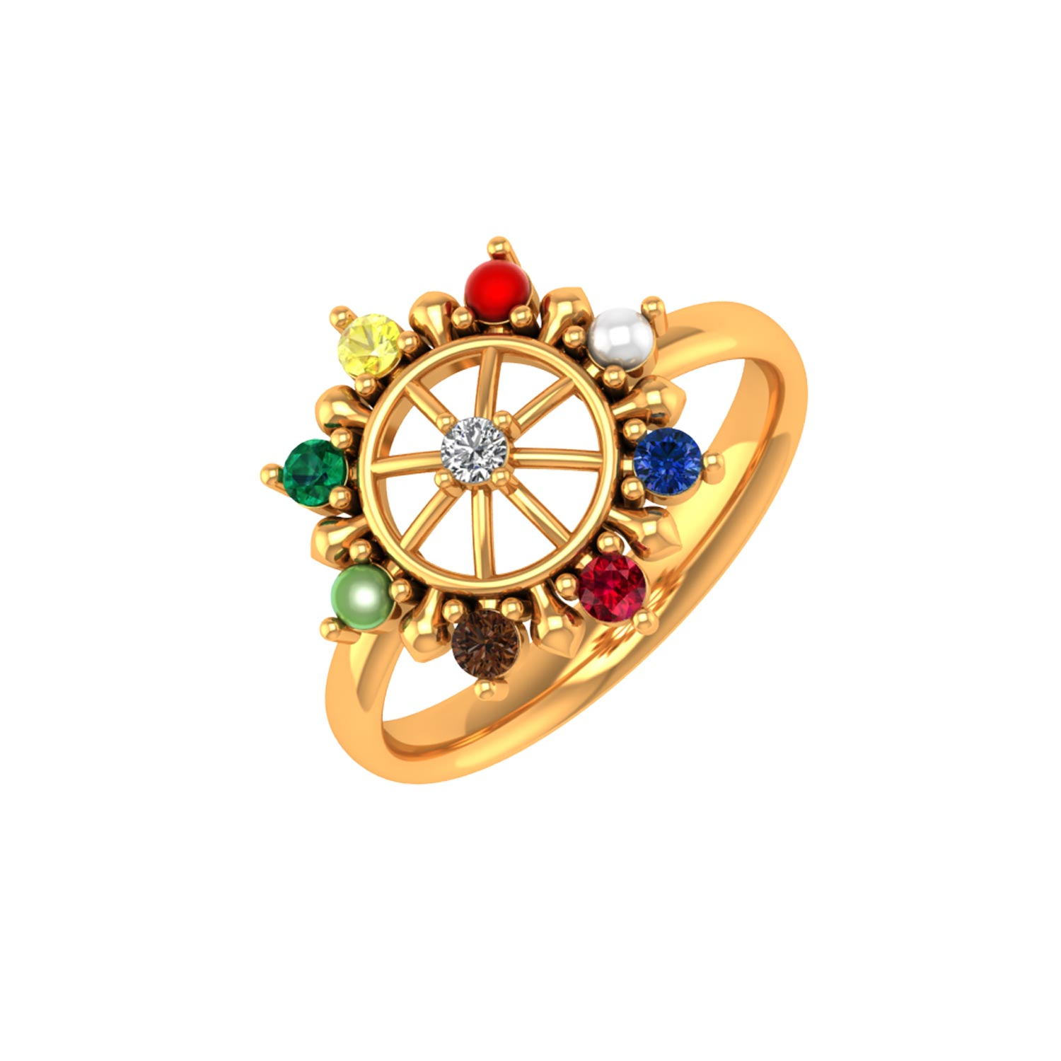 Navaratna Chakra Gold Ring by PNG Jewellers.