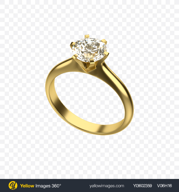 Download Golden Ring with Diamond Transparent PNG on Yellow Images 360°.