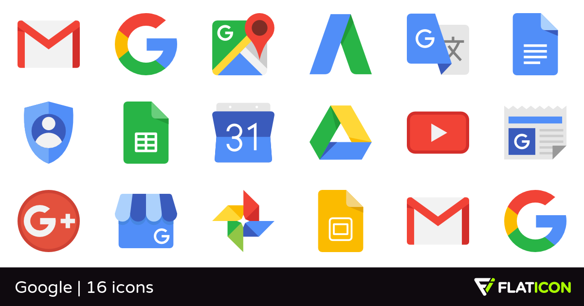 Google 16 free icons (SVG, EPS, PSD, PNG files).