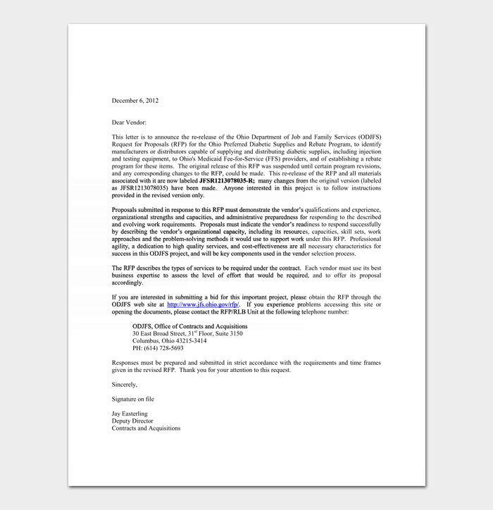 Bid Rejection Letter.
