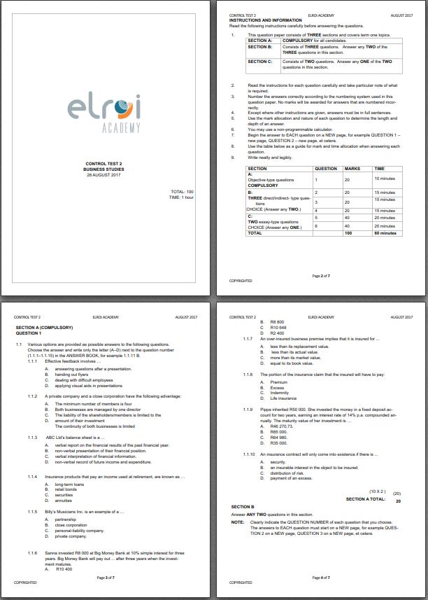 Grade 10 Exam Papers And Memos 2017.
